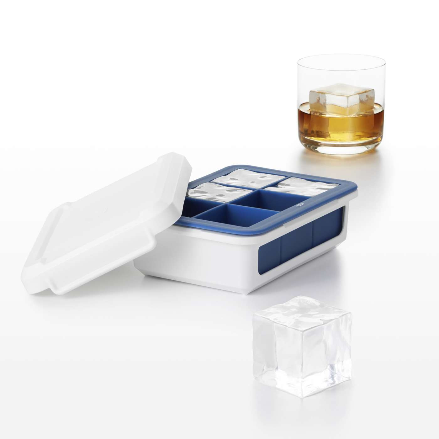 Covered Silicone Ice Cube Tray Large Cube